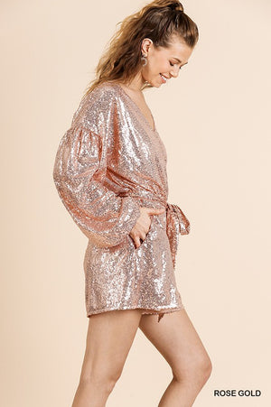 rose gold puffy sleeve romper