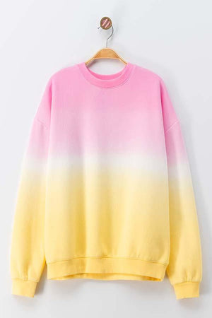 tie dye pink & yellow sweater