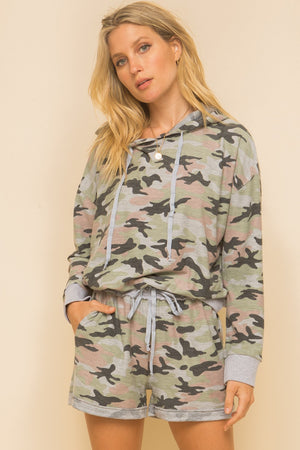 Camo teal & blush hoddie & shorts set 29 junio