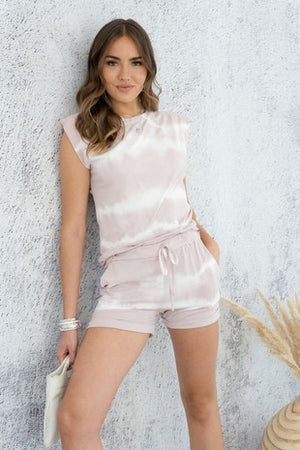blush tie dye muscle set