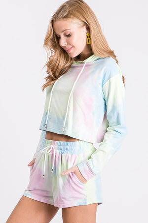Ligh blue  & pink tie dye hoddie and shorts set 1 julio