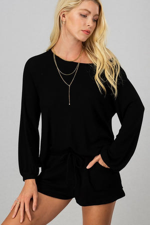 Black drop Shoulder  shorts set