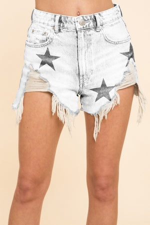 White Denim Stars Shorts