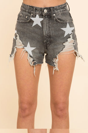 Black denim stars shorts