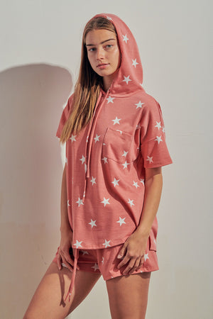 Mauve printed stars hoddie and shorts set 7 julio