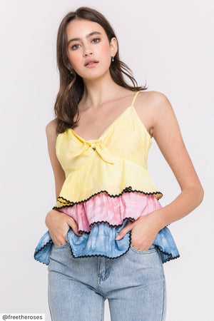tie dye ruffled tee set skirt and top