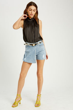 DENIM OVERLAP SKORT