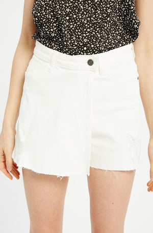 WHITE OVERLAP DENIM SKORT