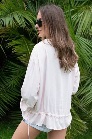 WHITE POCKET SEQUINS TENCEL SHIRT