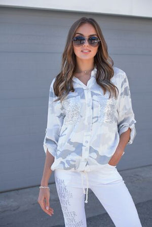 CAMO SEQUINS POCKET TENCEL SHIRT
