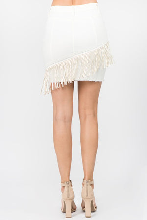 WHITE FRINGED SKIRT