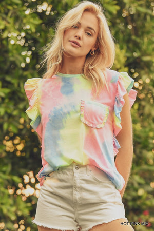 Tie dye ruffled top 10 julio