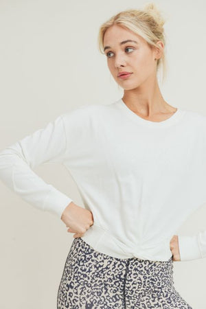 White twist long sleeve top