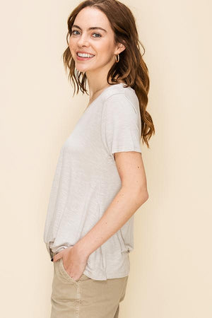 Beige v neck twist tshirt