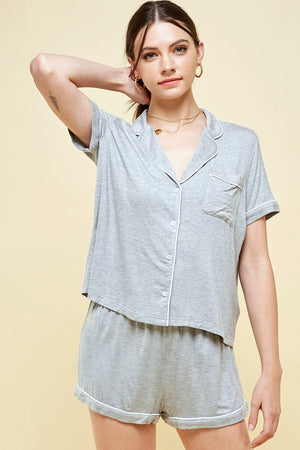 Grey jersey soft pajama set 7 julio