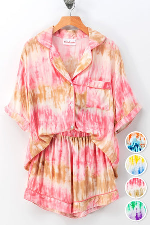 Pink and taupe tie dye pajama set 17 julio