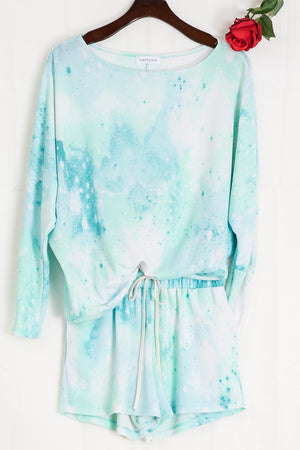 Mint blue tie dye shorts & long sleeve set 15 julio