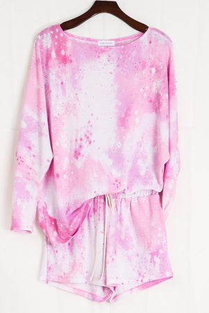 Tie dye pink shorts &  long sleeve set 15 julio