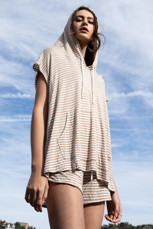 Beige striped hoddie & shorts set