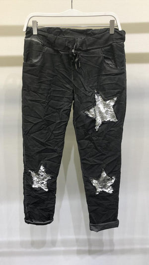 Sequins stars charcoal joggers