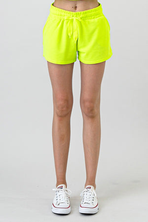 Neon lime shorts combo