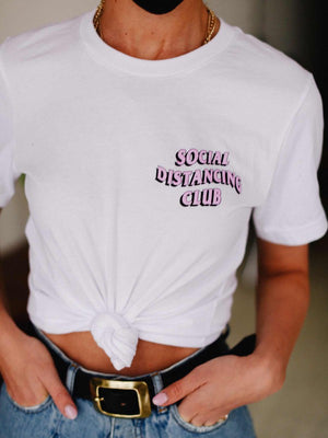 Social distancing club white tshirt