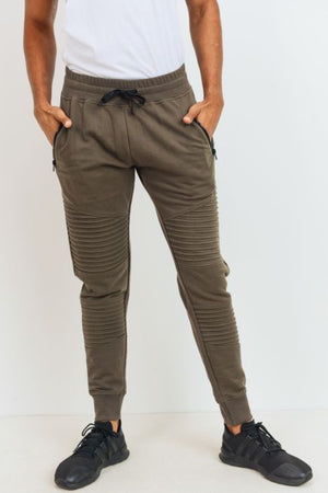 Olive ribbed moto men joggers 11 junio