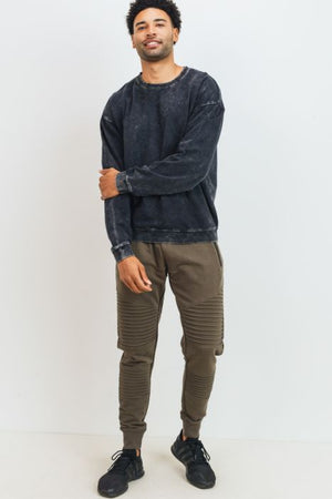 Olive ribbed moto men joggers