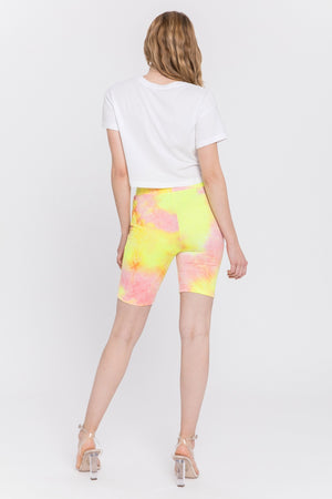 Tie dye yellow and pink bikers