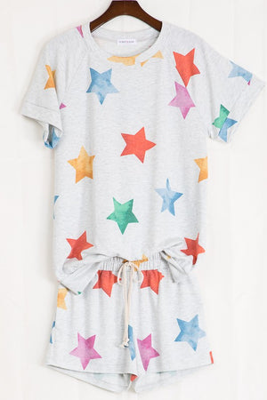 Stars grey printed shorts set