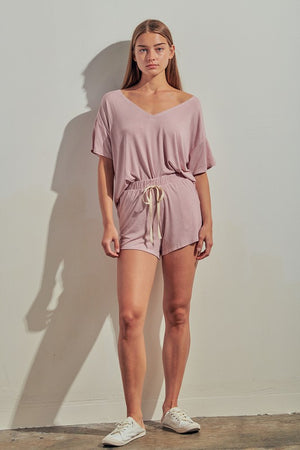 Mauve striped shorts set