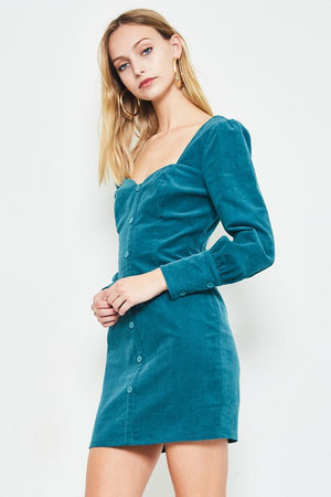 Teal puff sleeve 80's dress