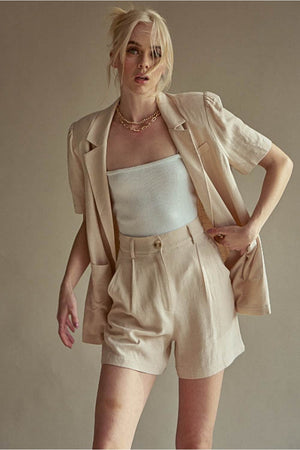 beige padded blazer shorts set
