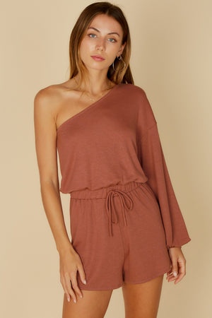 rust puffy one shoulder romper