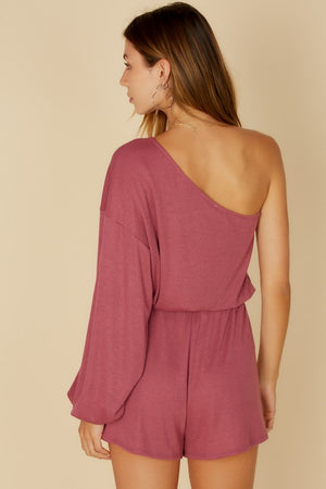 mauve one Shoulder puffy romper