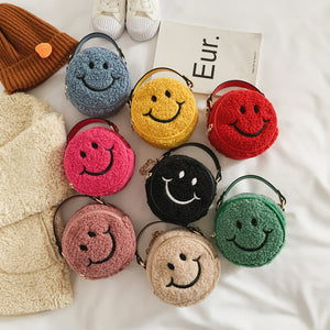 dusty pink fur smiley face bag 16 enero