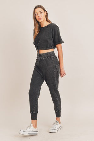 black washed cropped jogger set