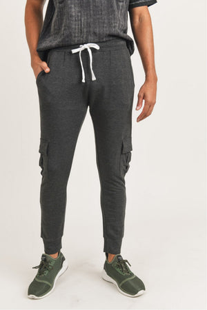 heather black cargo joggers for men