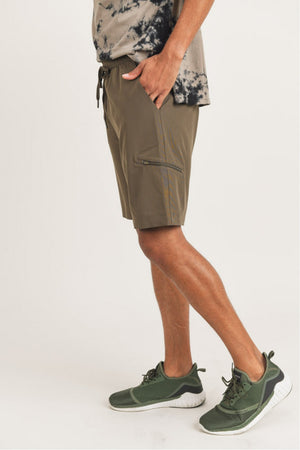 olive drawsting men shorts