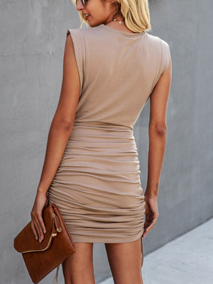 khaki muscle ruched dress