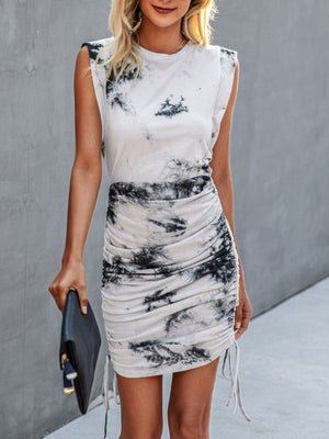 navy & white tie dye muscle ruched  dress