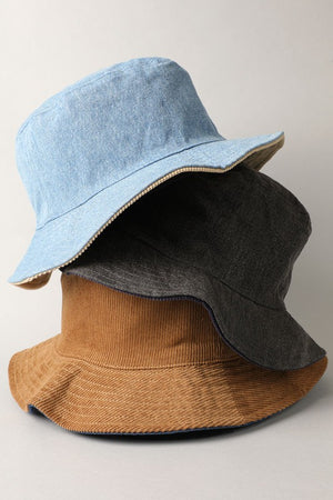 tan & dark denim corduroy reversible bucket hat