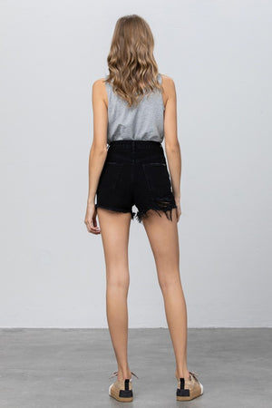 black denim fringed shorts 26 feb