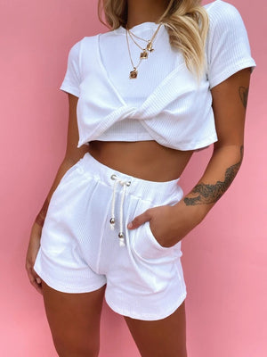 white twist shorts set 12 feb