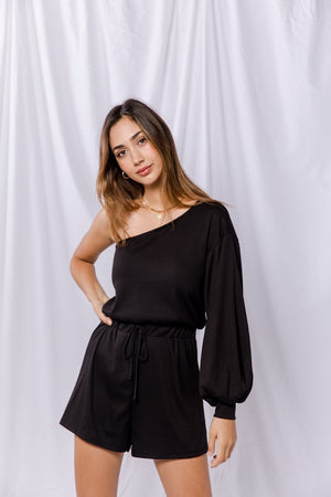 black one shoulder puffy romper