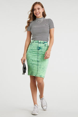 GREEN TIE DYE PENCIL DENIM SKIRT