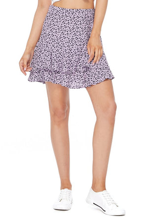 FLORAL PRINTTED FLARE SKIRT