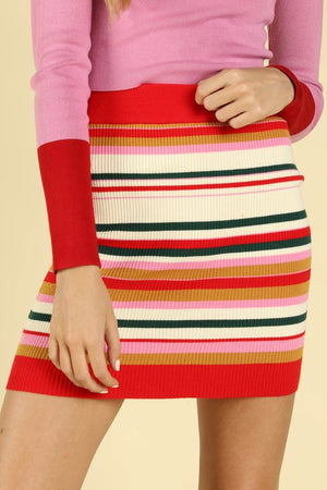 STRIPED KNITTED PINK AND RED SET (SKIRT AND TOP)