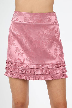 SATIN RUFFLED PINK SKIRT