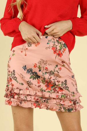 BOTANICAL RUFFLED BLUSH SKIRT